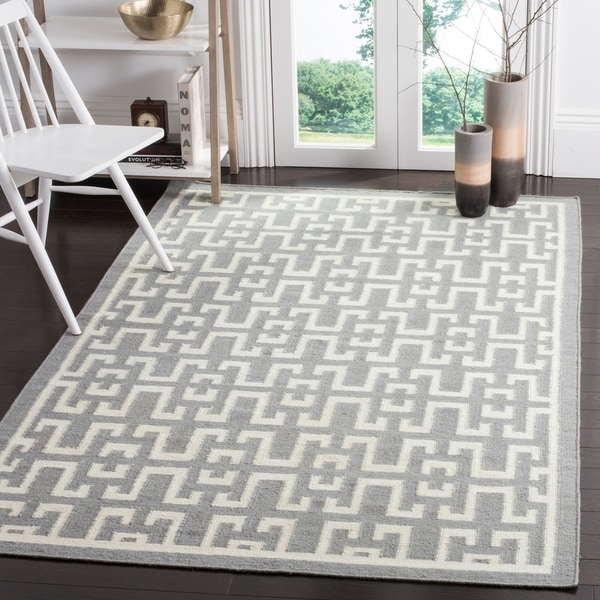 Safavieh Hand-woven Moroccan Reversible Dhurries Soft Grey/ Ivory Wool Rug - 9' x 12'
