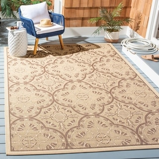 Safavieh Indoor/ Outdoor Courtyard Cream/ Light Chocolate Rug (6'7 x 9'6)