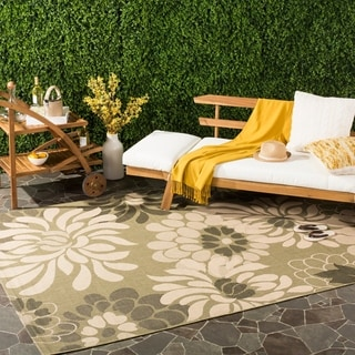 Safavieh Indoor/ Outdoor Courtyard Cream/ Green Rug (6'7 x 9'6)