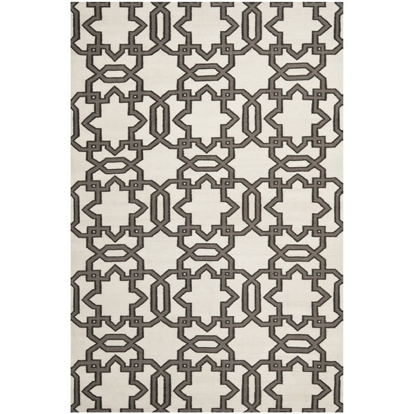 Safavieh Hand Woven Moroccan Reversible Dhurries Ivory Grey Wool Rug 6 X27