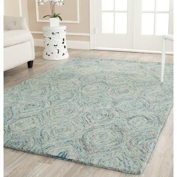 """Safavieh Handmade Ikat Ivory/ Sea Blue Wool Rug - 8'9"""" x 12'"""