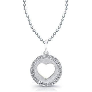 Victoria Kay 14k White Gold 1/6ct TDW Diamond Heart Disc Pendant with 16-inch Chain (J-K, I2-I3)