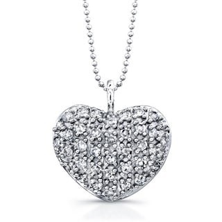 Victoria Kay 14k White Gold 1/5ct TDW Pave Diamond Heart 16-inch Necklace (J-K, I2-I3)