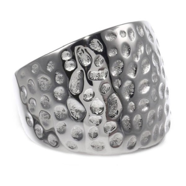 Stainless Steel Hammered Texture 16mm Ring