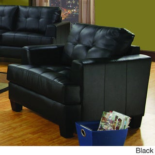 Samuel Square-tufted Bonded Leather Chair