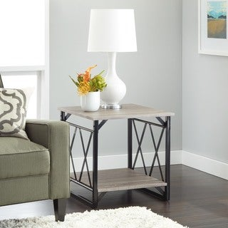 simple living seneca xx reclaimed look end table option white