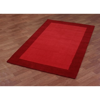 Hand Tufted Red Border Pulse Wool Rug (5'x8')