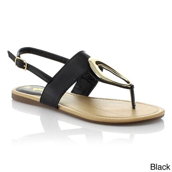 Anna Women's 'POP-1' T-strap Slingback Eyelet Gladiator Thong Sandals