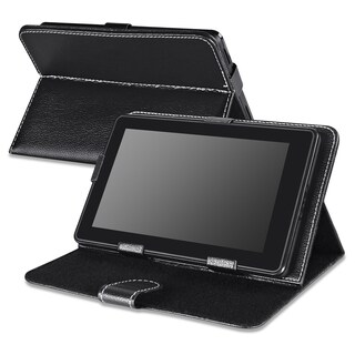 Insten Black Folio Flip Leather 7-inch Tablet Case with Stand for Samsung Galaxy Tab 3/ 4/ Apple iPad mini 3