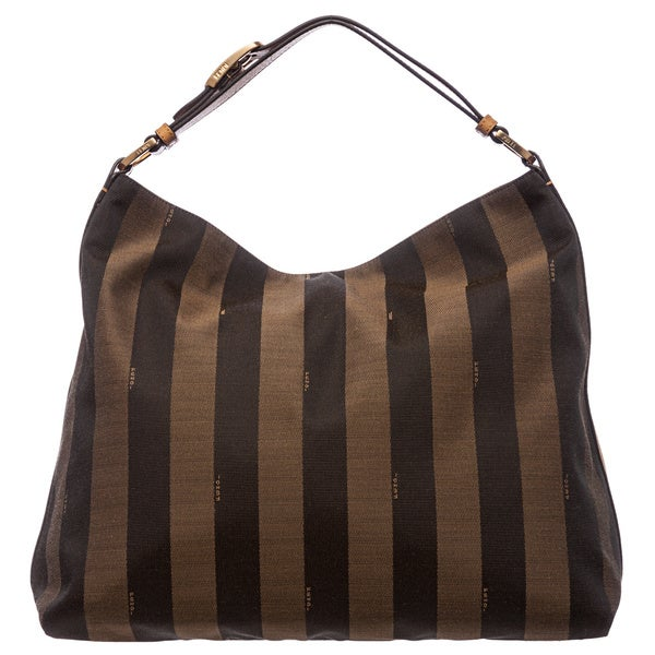 20f24460c10f ... closeout fendi tobacco yellow pequin striped jacquard hobo bag af843  4b813 ...