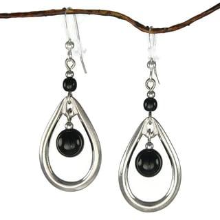 Jewelry by Dawn Rhodium-plated Double Black Bead Open Teardrop Dangle Earrings