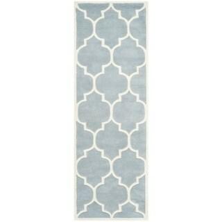 Safavieh Handmade Moroccan Chatham Blue/ Ivory Wool Rug - 2'3 x 21'