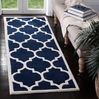 Safavieh Handmade Moroccan Chatham Dark Blue/ Ivory Wool Rug - 2'3 x 19'