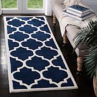 Safavieh Handmade Moroccan Chatham Dark Blue/ Ivory Wool Rug - 2'3 x 17'
