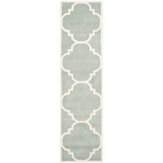 Safavieh Handmade Moroccan Chatham Grey/ Ivory Wool Rug (2'3 x 15')