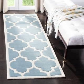 Safavieh Handmade Moroccan Chatham Blue/ Ivory Wool Rug (2'3 x 15')