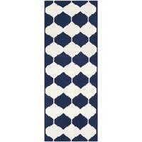 Safavieh Hand-woven Moroccan Reversible Dhurries Navy/ Ivory Wool Rug (2'6 x 9')