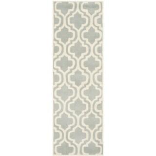 Safavieh Handmade Moroccan Chatham Grey/ Ivory Wool Rug (2'3 x 11')