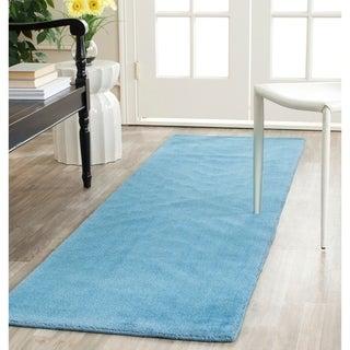 Safavieh Handmade Himalaya Solid Blue Wool Runner Rug (2'3 x 12')
