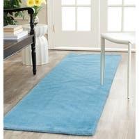 Safavieh Handmade Himalaya Solid Blue Wool Runner Rug - 2'3 x 12'