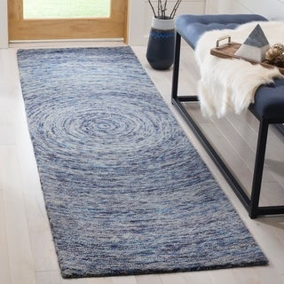 "Safavieh Handmade Ikat Dark Blue/ Multi Wool Rug - 2'3"" x 12'"