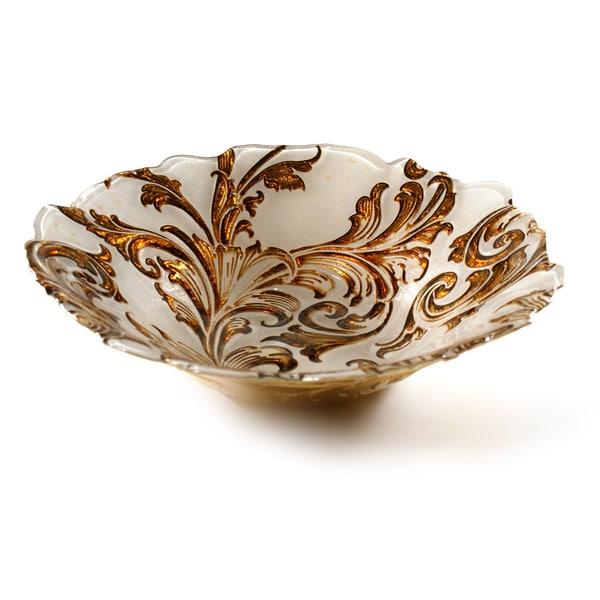 Vanessa Beige/ Gold 12-inch Serving Bowl