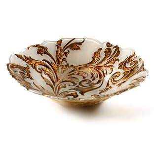 Vanessa Beige/ Gold 12-inch Serving Bowl