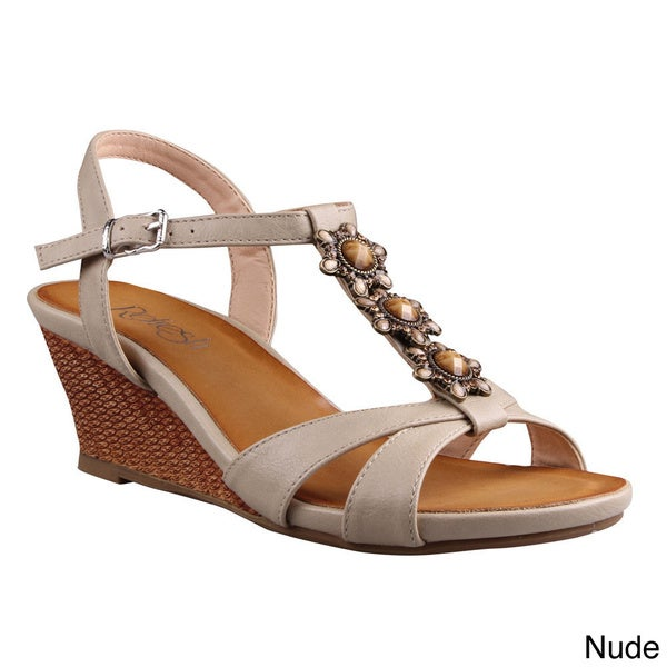 d3ee8d4791a97 Shop Refresh Women s  Ginny-16  Beaded T-strap Low-wedge Sandals ...