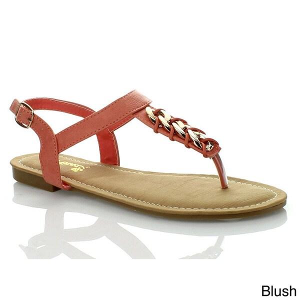 96bd85dc90a6 Anna Women  x27 s T-strap Slingback Eyelet Chain Flat Gladiator Sandal