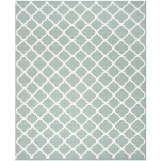 Safavieh Hand-woven Moroccan Reversible Dhurries Blue/ Ivory Wool Rug (10' x 14')