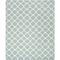 Safavieh Hand-woven Moroccan Reversible Dhurries Blue/ Ivory Wool Rug - 10' x 14'