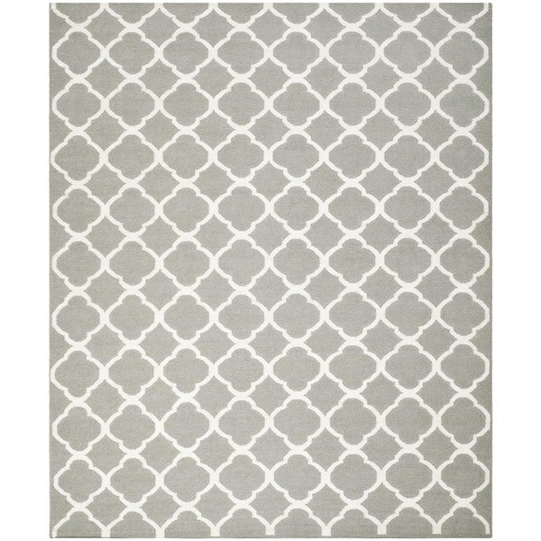 Safavieh Hand-woven Moroccan Reversible Dhurries Grey/ Ivory Wool Rug - 10' x 14'