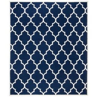 Safavieh Hand-woven Moroccan Reversible Dhurries Navy/ Ivory Wool Rug (10' x 14')