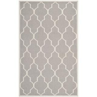 Safavieh Hand-woven Moroccan Reversible Dhurries Dark Grey/ Ivory Wool Rug (10' x 14')