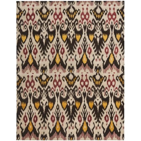 Safavieh Handmade Ikat Beige/ Brown Wool Rug - 10' x 14'