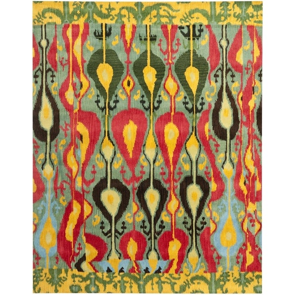 Safavieh Handmade Ikat Blue/ Green Wool Rug - 10' x 14'