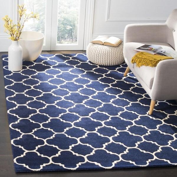 "Safavieh Handmade Moroccan Chatham Dark Blue/ Ivory Wool Rug - 7'6"" x 9'6"""