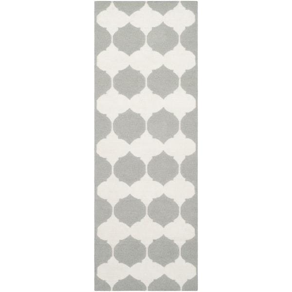 Safavieh Hand-woven Moroccan Reversible Dhurries Grey/ Ivory Wool Rug (2'6 x 9')