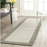 Safavieh Handmade Himalaya Light Grey/ Dark Grey Wool Gabbeh Rug - 2'3 x 6'