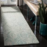"""Safavieh Handmade Ikat Ivory/ Sea Blue Wool Rug - 2'3"""" x 6'"""