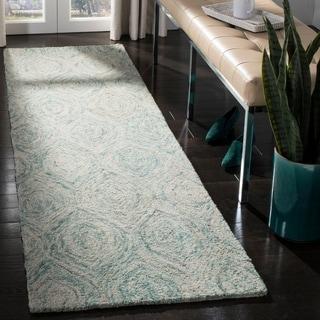 Safavieh Handmade Ikat Ivory/ Sea Blue Wool Rug (2'3 x 6')