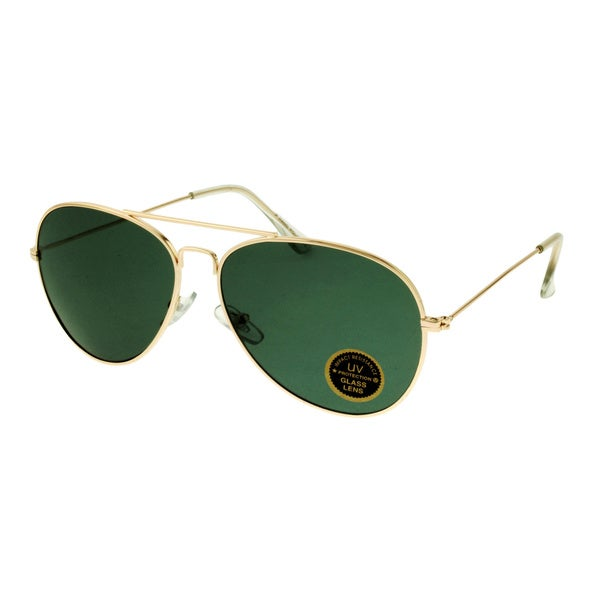 Echelon Unisex Goldtone and Green Aviator Sunglasses