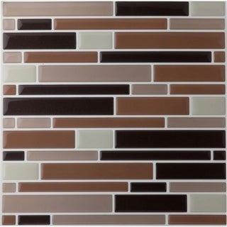 Magic Gel Coffee/ Beige Piano Mosaic 9.125 x 9.125-inch Self-adhesive Vinyl 1 Tile/ 0.75 sq. ft. Wall Tile