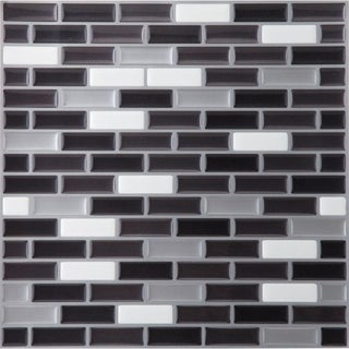 Somertile 12x12 In View Block Black White Glass Mosaic