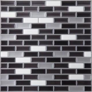 Genial Magic Gel Silver/Black 9.125x9.125 Self Adhesive Vinyl Wall Tile   1