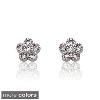 Little Miss Twin Stars Little Miss Flower Girl Pink Cubic Zirconia Flower Stud Earring