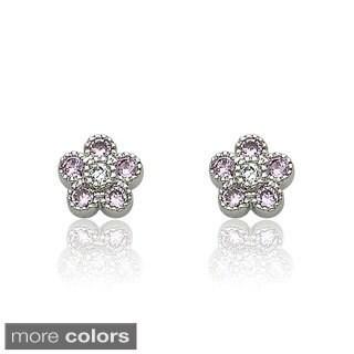 Little Miss Twin Stars Little Miss Flower Girl Pink Cubic Zirconia Flower Stud Earring