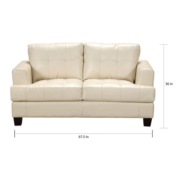 Contemporary Bonded Leather Loveseat