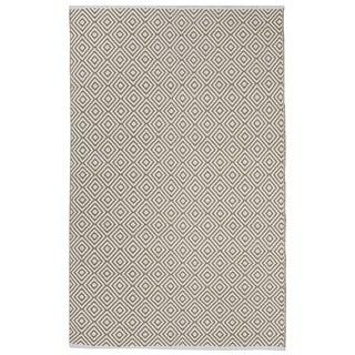 Handmade Indo Veria Khaki and White Contemporary Geometric Rug (India) - 3' x 5'