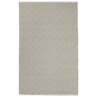 Indo Hand-woven Veria Khaki/ White Contemporary Geometric Area Rug (3' x 5')